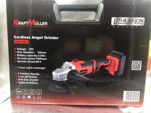 Meuleuse d'angle sans fil KRAFTMULLER .km-7302,20V,125 mm, batterie 4.0 Ah, chargeur ra...