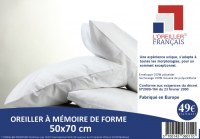 OREILLER MÉMOIRE DE FORME CARRÉ 60X60 CM ET RECTANGLE 50X70 CM