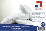 OREILLER MÉMOIRE DE FORME CARRÉ 60X60 CM ET RECTANGLE 50X70 CM