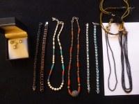 Lot 10 Bijoux Colliers Topaze Turquoise Aigue Marine Grenat Corail origine INDE