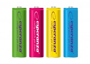 ESPERANZA RECHARGEABLE BATTERIES Ni-MH AA 2000MAH 4PCS. MIX OF COLORS