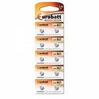 Pack de 10 piles Eurobatt Alkaline AG1,LR621,LR60,164,SR621W,GP64A,364 avec 0% Mercure