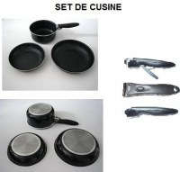 SET DE 2 POELES + 1 CASSEROLE TT FEUX ET INDUCTION MANCHE DETACHABLE
