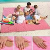SHOP-STORY - SAND FREE MAT PINK : Serviette de Plage Drap Anti-Sable avec Crochet - 150...