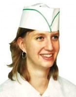 Calot plat réglable blanc liseré vert