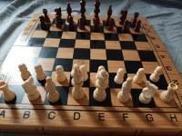 Coffret de Luxe bois Bambou : 3 Jeux en 1 Dames Echec Backgammon