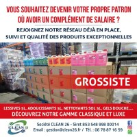 CLEAN 26 GROSSISTE/CONCEPTEUR Lessives 5L, Adoucissants 5L, Gels douche luxe 5L, Parfum...