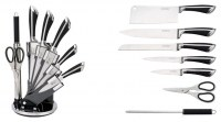 Set de couteau 8 piéces Stainless Steel sur présentoir - KICHEN LINE - SWISS Collection
