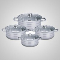 Lot de 4 Faitouts Inox - Marmite 8 piéces - Tous feux + induction