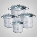 Set de 4 casseroles (8 pièces) en Inox - Faitout - Marmite - Tous feux + induction - Im...