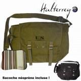 "HALTERREGO - SAC U.S avec housse néoprène pour Notebook 7-13""3,Vert kaki"