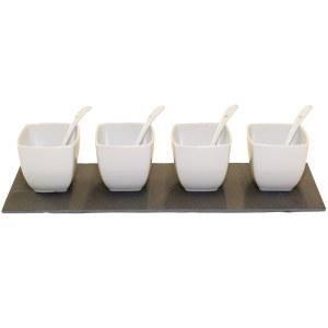 Set de 4 verrines rondes ou carrées et cuillères plateau ardoise / 3.50€HT