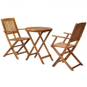 Table ronde + 2 chaises pliantes ACACIA