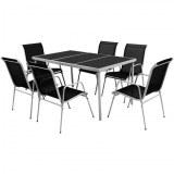 Table + 6 chaises pliantes ACIER