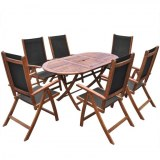 Table + 6 chaises pliantes ACACIA