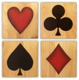 Set 4 Tableaux bois gravé déco USA Las Vegas Poker