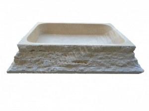 Travertin Beige Évier Pyramide 60x45 15 cm EN STOCK