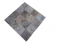Travertin Gris Silver 20x20x2cm Rustique