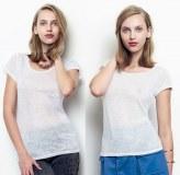Lot de 200 t-shirts Femme blancs - Neufs sous emballages (par 5) parfaits pour la Subli...