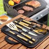 SHOP-STORY - LUXURY CASE BBQ : Set de 5 Ustensiles Or pour Barbecue avec Étui Luxe