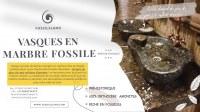 Vasque à poser amorphe en pierre d'Erfoud fossilisé préhistorique