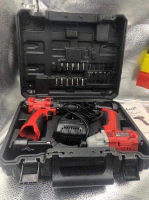 KRAFTMULLER - Duo Perceuse et Visseuse a Chocs 18V sans fil 2 Batteries