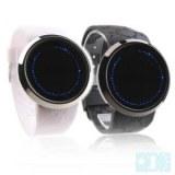 Montres LED pour Couple, Ecrans Tactiles, Bracelets en Silicone - Noir, blanc