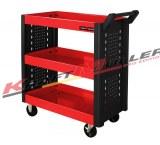 Chariot à roulettes mécanique Rouge KRAFTMULLER Outil de travail Boîte 3 étagère Atelie...