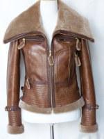 Veste bombardier femme en cuir et fourrure d'Agneau (double face)